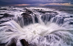 Picture the sky, foam, water, clouds, stones, shore, coast, the evening, Oregon, surf, USA, blue, threads, …