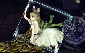 Picture glass, watch, art, girl, cube, coins, atyako