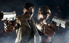 Picture girl, weapons, guns, the situation, guy