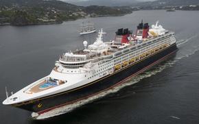 Picture sea, sailboat, Norway, liner, Norway, cruise, North sea, North Sea, Bergen, Mountains, Disney Magic