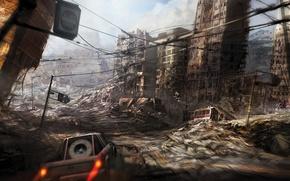Picture city, ruins, destruction, apocalyptic, fast car