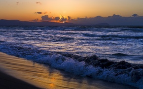 Picture sand, sea, wave, beach, the sky, water, the sun, clouds, landscape, sunset, nature, shore, coast, ...
