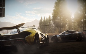 Picture forest, race, smoke, Koenigsegg, daroga, supercars, McLaren P1, Need for Speed Rivals