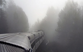 Picture train, Fog, cars