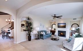 Picture design, sofa, furniture, ladder, lamp, fireplace, mansion, Design, living room, Interior, Living