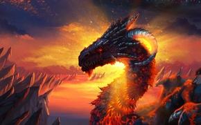 Picture dragon, lava, the folding