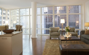 Picture design, style, interior, megapolis, New York city, Broadway, living room, city apartment