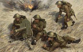 Picture art, soldiers, machine gun, British, WW2., calculation