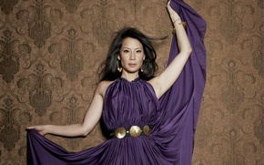 Picture actress, Asian, Lucy Liu, purple dress
