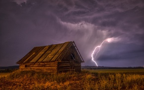 Picture the storm, field, the sky, grass, night, clouds, house, lightning