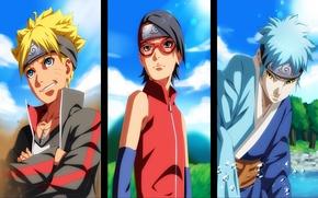 Picture girl, guys, ninja, Naruto, anime, art, Trinity, In Sarah Uchiha, Boruto, Naruto Uzumaki, Mitsuki