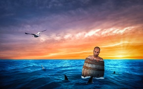 Picture sea, people, barrel