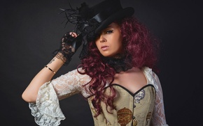 Picture girl, portrait, makeup, hat, creative, circle, Steampunk, Kayleigh Baldassare