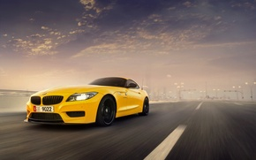 Picture BMW, Car, Speed, Front, Sunset, Yellow, Abudhabi