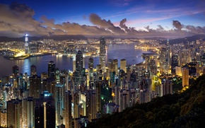 Wallpaper lights, the evening, Hong Kong, clouds, the city, Hong Kong