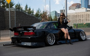 Wallpaper girl, city, the city, green, green, nissan, black, girl, drives, black, road, Nissan, silvia, exhaust, ...
