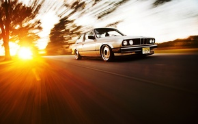 Picture the sun, BMW, speed, silver, BMW, Blik, Coupe, front, E30, silvery, 3 Series