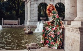 Picture girl, flowers, pose, pond, style, model, dress, fountain, red, redhead, sculpture