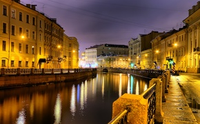 Picture Saint Petersburg, night city, Moyka river
