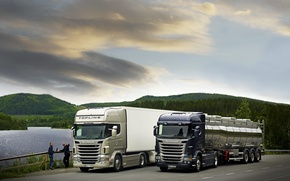 Wallpaper Nature, Lake, Trees, Hills, Trucks, Scania, Scania, Highline, Topline, 480л.with., Van, Stelnicki, Trucks, The main ...