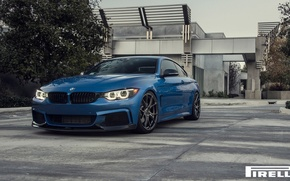 Picture BMW, Blue, Front, Vorsteiner, Pirelli, Wheels, F32, 103, 2015, 435i, V-FF, Estoril