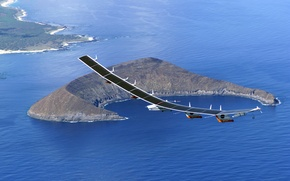 Wallpaper mountain, aircraft, Pathfinder, island, Unmanned, Solar panels, Wallpaper, NASA, sea