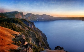 Picture the sky, sunset, mountains, lake