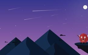 Picture mountains, night, figure, monster, Design, Starfall, PopArt Studio