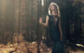 Picture forest, girl, dress, black, girl, brown hair, model, Nathan Photography, Tonny Jorgensen, Anne Lysa