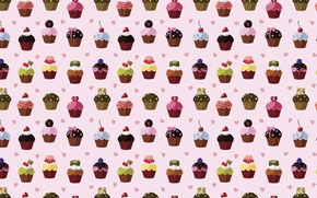 Wallpaper texture, hearts, sweets, cupcakes, cake, sweet background, snacks