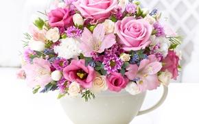 Picture bouquet, Roses, chrysanthemum, eustoma, alstremeria