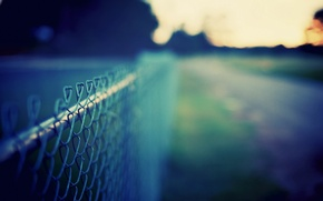 Picture road, greens, the sky, grass, macro, background, mesh, the fence, color, dal, meadow, wallpapers, Wallpaper …