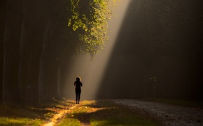 Picture girl, light, Park, alley