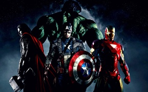 Wallpaper Thor, Hulk, captain America, the Avengers, elezny people