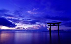 Wallpaper the sky, clouds, landscape, the ocean, gate, Japan, Japan, torii