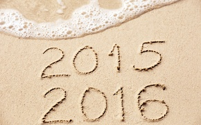 Picture sand, sea, beach, New Year, figures, New Year, Happy, 2016