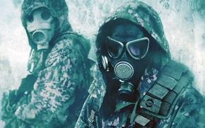 Picture form, army, gas mask