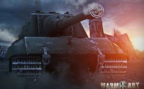 Picture the city, dust, the ruins, trunk, armor, caterpillar, PT-ACS, Alexander, WOT, Jagdpanzer E 100, World …