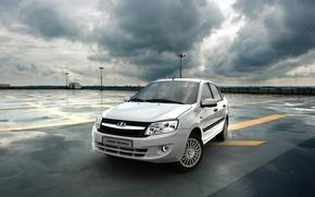 Picture Sedan, white, airport, Lada, Lada, Granta, Grant, Wallpaper background