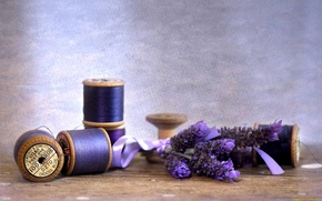 Picture flowers, tape, thread, lavender, coil