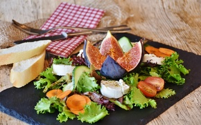 Picture food, cheese, bread, vegetables, tomatoes, salad, figs