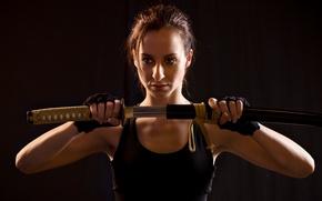 Picture woman, sword, katana, sheath