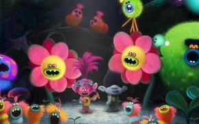 Picture spider, fantasy, forest, magic, flower, pink hair, dress, pink, DreamWorks, cartoon, singer, hero, queen, Justin …