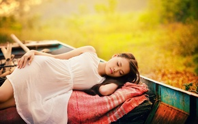 Picture girl, boat, sleep
