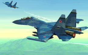 Picture the plane, fighter, art, BBC, OKB, Russian, multipurpose, Dry, Soviet, shock, double, Russia., developer, upgraded, ...