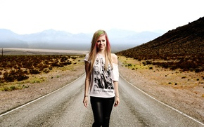 Picture road, girl, mountains, music, singer, Avril Lavigne, singer, the long road