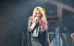 Picture microphone, singer, Demi Lovato, Hot Chelle Rae