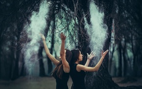 Picture forest, girls, dust, gesture
