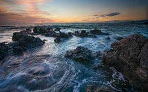Picture sea, sunset, stones, Hawaii, Hawaii, © Benjamin Torode