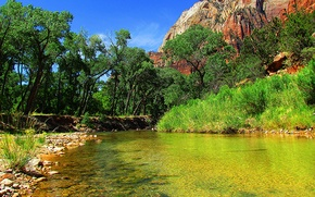 Picture the sky, trees, rock, river